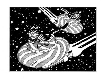 Kliban cat cartoon funny vintage print spaceship cats feline illustration 8.5 x 10.25 inches