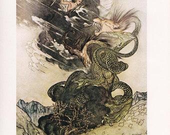 fine art print Arthur Rackham vintage dragon pegasus illustration for A Wonder Book by N. Hawthorne home decor 8.5x11.5 inches