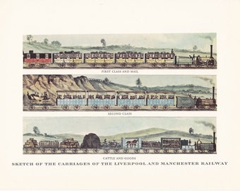vintage steam train Liverpool and Manchester Railway Carriages print illustration home office décor 9.5 x 7 inches
