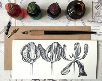 3 Dried Tulips Illustrated Card // Any Occasion Card // Floral Illustration/Flower Illustration Note Card, cream laid 280gsm, blank inside
