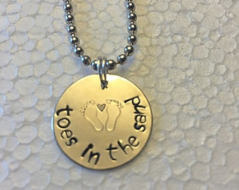 Toes In The Sand Hand Stamped Charm Necklace