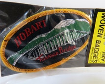 Vintage 60s / 70s patch - new in packet Hobart Tasmania - silver thread - Made in Australia