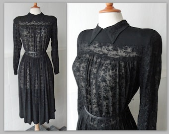 Black 40s Vintage Dress With Collar // Charell Copenhagen // Sheer Embroidered And Crepe // Buttoned In Back // Made In Denmark