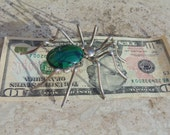 E. Spencer ~ Huge Navajo Sterling and Malachite Spider Brooch / Pin