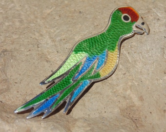 Fuentes ~ Vintage Mexican Sterling and Enamel Parrot Bird Pin / Brooch