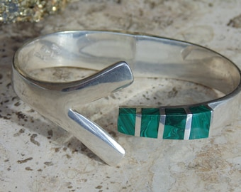 Chunky Mexican Sterling and Malachite Spring Hinged Bangle Bracelet ~ 55 Grams