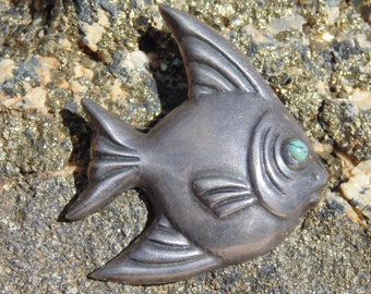 Casa Prieto ~ Vintage Sterling Silver Fish Pin in Repousse c. 1940's