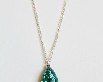 Aqua Rain Drop Necklace  - Glitter Junk!