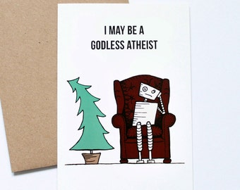 Robot Winter Solstice Card, Atheist Card, Cute Greeting Card, Funny Holiday Card, Eat Drink Be Merry