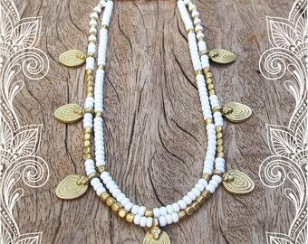 FREE SHIPPING White Ankle Bracelet, White Anklet, Beaded White Anklet, Gypsy Jewelry, Hippie Jewelry, Anklet, White, Summer Jewelry, Artjuna