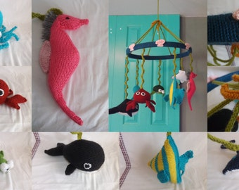 Hand-Knit Sea Creatures Mobile - Baby Mobile - Knit Mobile for Nursery - Sea Creatures Mobile - FREE SHIPPING