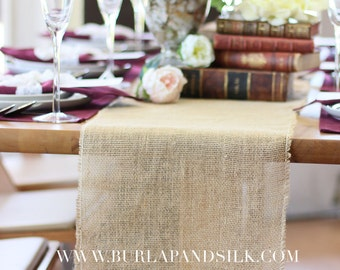 Burlap Table Runner with Fringed Edge 12 1/2 inches x 96 inches   Rustic Burlap Table Runners, Wedding Table Decor, Outdoor Gatherings