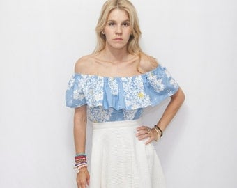 Floral Off the Shoulder Ruffle Top, Woman Boho Ruffle Top, Blue FloralBoho Top, Off the Shoulder MATILDA Top.