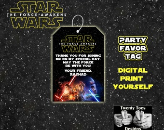 Favor Tags for Star Wars 2015 - The Force Awakens - Star Wars 7 - Personalized Gift Tags - Favors - Party Tags - DIY - Printable