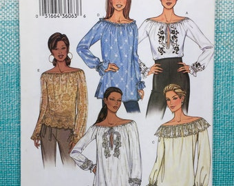 2000s Butterick 3732 EASY Sewing Pattern Ladies Misses Peasant Top Blouse Shirt Pullover Flounce Ruffle Keyhole Slit Size XS Small Medium