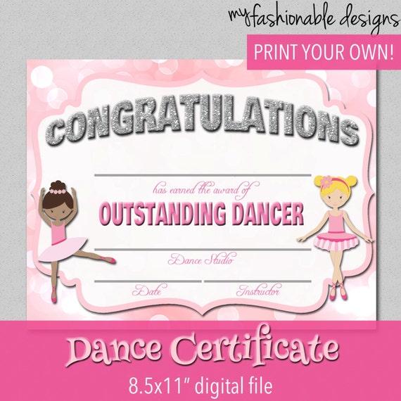 Printable Participation Templates Certificate Templates Dance