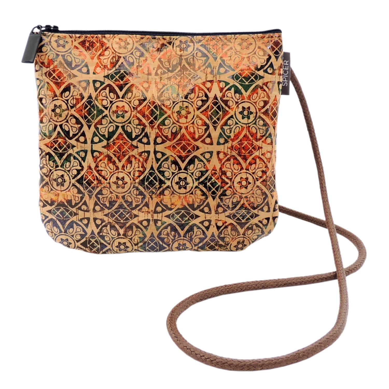 Cork Handbags: Small Printed Cork Bag Eco Friendly Vegan Purse Mini Zip Top