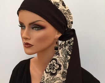 Carlee Pre-Tied Head Scarf, Women's Cancer Headwear, Chemo Scarf, Alopecia Hat, Head Wrap, Head Cover for Hair Loss - Black, Cream Paisley