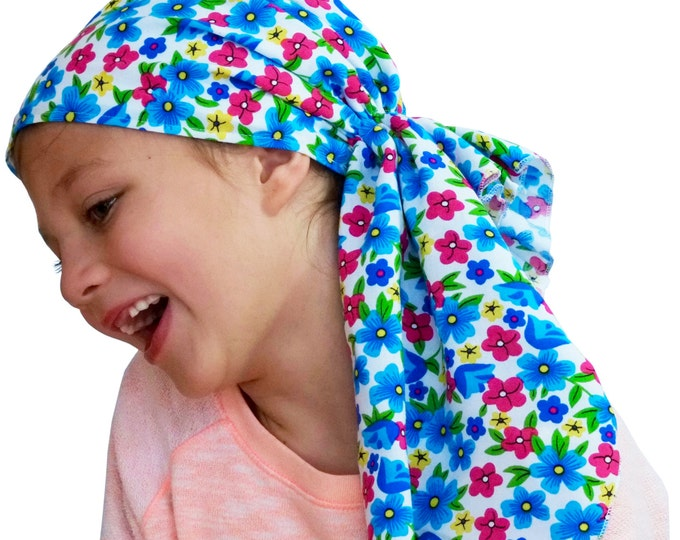 Featured listing image: Ava Joy Children's Pre-Tied Head Scarf, Girl's Cancer Headwear, Chemo Head Cover, Alopecia Hat, Head Wrap for Hair Loss - Bright Flowers