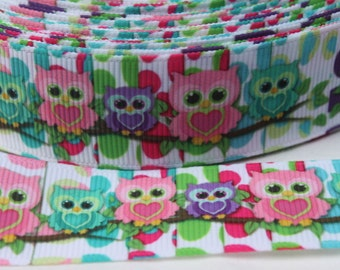 Owl 1 Inch Grosgrain Ribbon by the Yard for Hairbows, Scrapbooking, and More!!