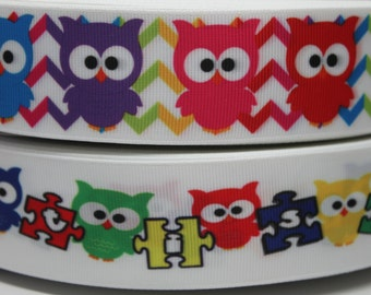 1.5 Inch Autism Owl Grosgrain Ribbon - Grosgrain Ribbon by the Yard for Hairbows, Scrapbooking, and More!!