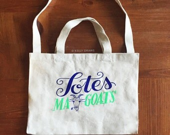 Totes Ma Goats Canvas Tote Bag Blue Neon Green Reusable Grocery Gym Book Bag