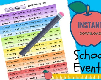 Colorful Planner Stickers for Moms - School Events