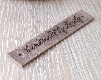 Handmade by leather labels, personalized clothing labels, real leather logo labels, custom made garment tags, personalized labels, set of 25