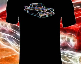 Classic Chevrolet Bel Air T shirt Neon Effect Customized T Shirt, Black T Shirt Customised with a Unusual Neon Effect Classic American Car
