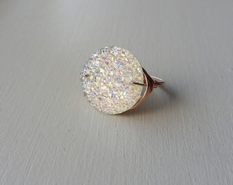 Wire Wrapped White Druzy Ring, Druzy, Wire Wrapped Stones, Wire Wrapped Stone, Druzy Ring, White Druzy Ring, Wire Wrapped Ring, Druzy Stone