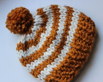 Little Striped Knitted PomPom Hat |the Hardin| (Butterscotch and Fisherman) Baby-Child sizes