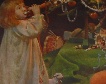 Antique Victorian Christmas Print ~ Little Girl ~ Christmas Tree ~ Toys ~ 1904
