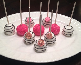 Black, Pink and White Cake Pops