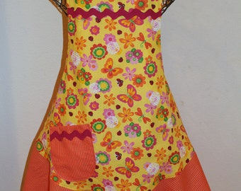 Women's Large Apron - Yellow Plisse Fabric with Colorful Flowers and Butterflies