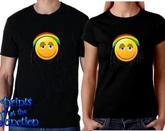 Emoji Shirt/Rasta Jamaican Stoner Emoji With Dreadlocks T-Shirts/Stoned Emoji With Beanie Women/Men T-Shirts/Funny Emoji T-Shirt
