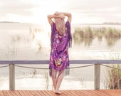 Fringe Kimono Jacket - Velvet Kimono Coat - Purple Kimono - Hippie Floral Kimono - Boho Festival Clothing - Purple Butterfly - Velvet Jacket