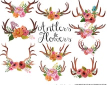 Antlers clip art, watercolor clip art, watercolor antlers, floral antlers, floral clip art (5219)