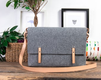 Macbook 15 Case, messenger bag, FULL GRAIN leather straps bag, 15-inch Macbook case, crossbody bag, office bag