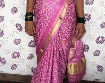 Pink Bandhani Sari, Printed Pure Silk Sari,Golden Border, Vintage Sari, 1996, almost 6 yards Indian Silk Sari