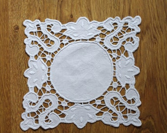 Square Richelieu White Candel mat, Traycloth, Doily Vintage Crochet cutwork embroidery Polish linen Wedding hand made richelieu embroidery