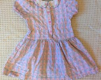 Vintage 80s OshKosh B'Gosh Pastel Plaid Dress Girls Size 4T