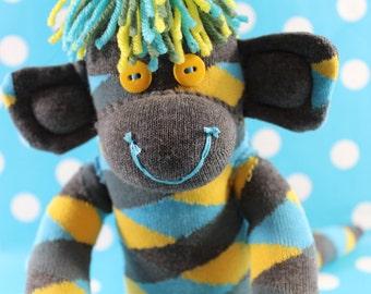 Sock Monkey / Zigzag Checkered / Yellow Blue Sage Green Grey / Yellow and Grey / Grey and Yellow / Yellow and Blue / Nursery Decor / Gift