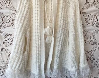 Ivory Crochet Poncho size M