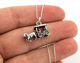 Sterling silver Horse and coach Necklace Pendant 925 Animal jewelry w/ Italian Box chain N-87