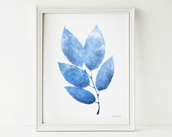Blue leaves print Blue and white print Blue wall decor