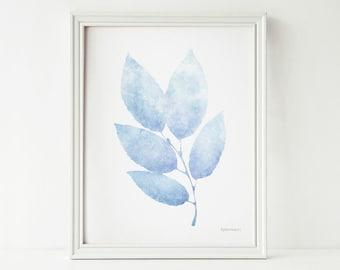 Pastel Blue leaves Digital illustration Printable Nursery art, Baby room art print, Pastel Nursery print, Light Blue print, 8x10 print art