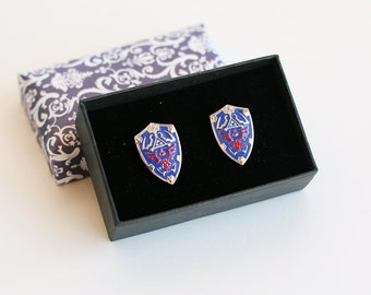 Zelda cufflinks from the Legend of Zelda series made with stainless steel and enamel