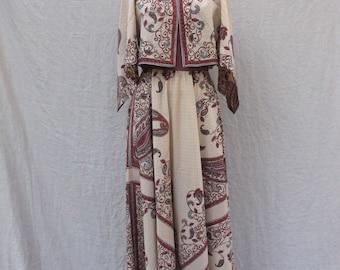 Maxi Boho Handkerchief Dress by Dalani II - Vintage 1970s - Size S