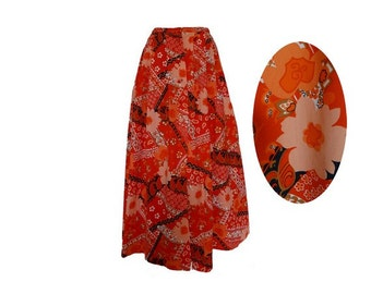 1970s Floral orange MAXI Skirt // psychedelic print maxi skirt // size eu40 - uk 12-us10