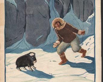 Original James Swinnerton illustration from early Good Housekeeping; Eskimo, Indian, musk ox - Kids893